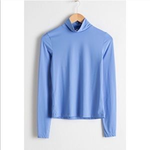 & other stories Fitted Stretch Turtleneck in Blue